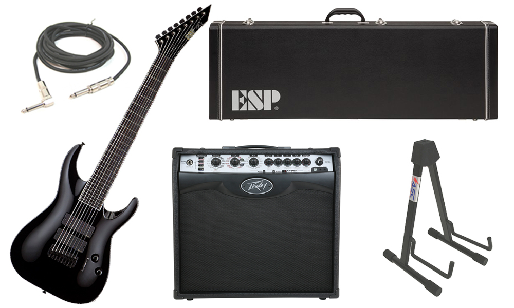 """ESP Signature Stephen Carpenter STEF B-8 Alder Body 8 String Ebony Fingerboard Black Electric Guitar with Peavey VIP 2 Modeling Amp, 1/4"""" Cable & Stand"""