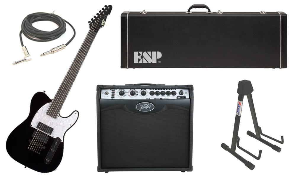 """ESP Signature Stephen Carpenter STEF-T7B Alder Body 7 String Ebony Fingerboard Black Electric Guitar with Peavey VIP 2 Modeling Amp, 1/4"""" Cable & Stand"""