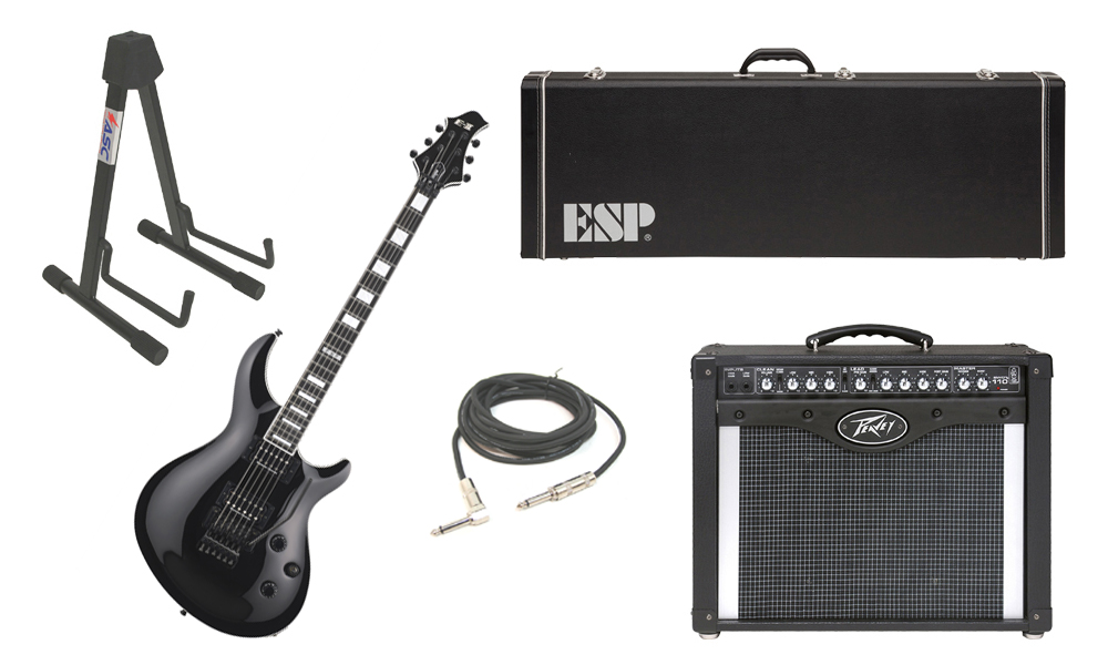 "ESP E-II Mystique Maple Top 6 String Black Electric Guitar with Peavey Envoy 110 Tube Amp, 1/4"" Cable & Stand"