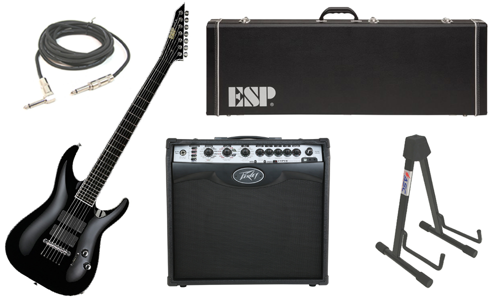 """ESP Signature Stephen Carpenter STEF B-7 Alder Body 7 String Ebony Fingerboard Black Electric Guitar with Peavey VIP 2 Modeling Amp, 1/4"""" Cable & Stand"""