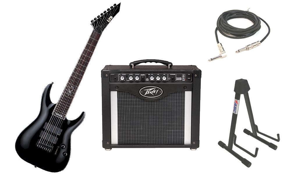 "ESP Signature Stephen Carpenter SC-608B Alder Body 8 String Rosewood Fingerboard Black Electric Guitar with Peavey Rage 258 TransTube Amp, 1/4"" Cable & Stand"