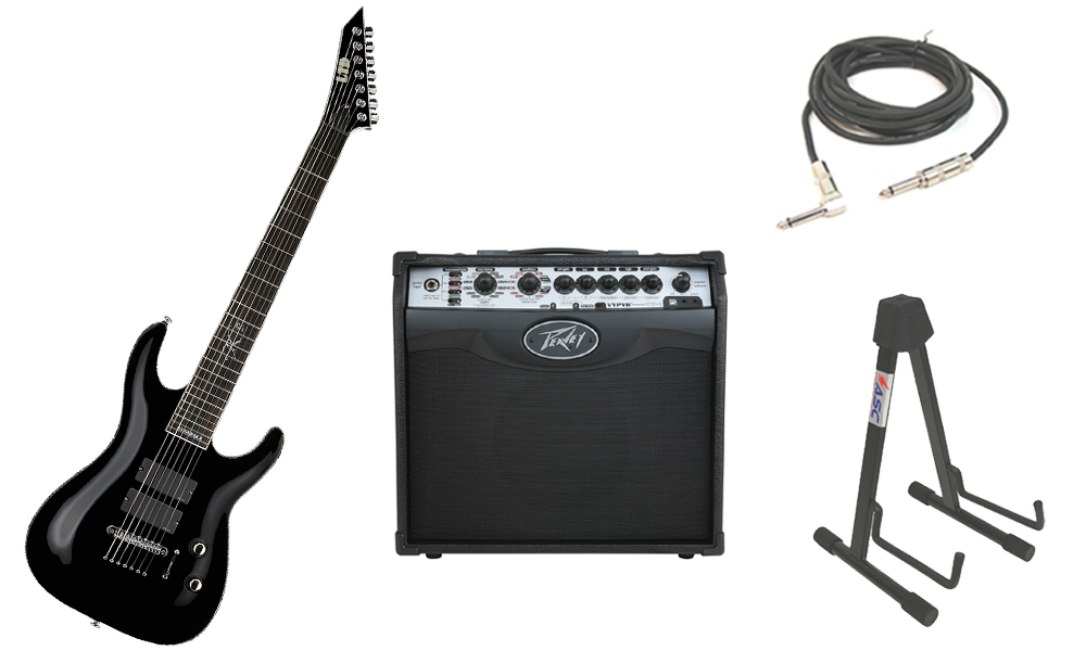 """ESP Signature Stephen Carpenter SC-607B Alder Body 7 String Rosewood Fingerboard Black Electric Guitar with Peavey VIP 1 Modeling Amp, 1/4"""" Cable & Stand"""