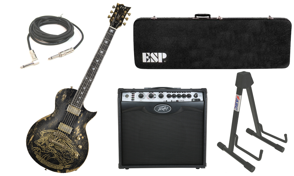 "ESP Signature Will Adler Warbird Mahogany Body 6 String Ebony Fingerboard Distressed Black Electric Guitar with Peavey VIP 2 Modeling Amp, 1/4"" Cable & Stand"