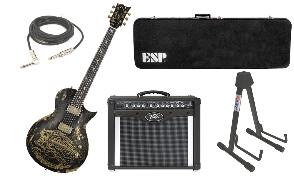 """ESP Signature Will Adler Warbird Mahogany Body 6 String Ebony Fingerboard Distressed Black Electric Guitar with Peavey Envoy 110 Tube Amp, 1/4"""" Cable & Stand"""