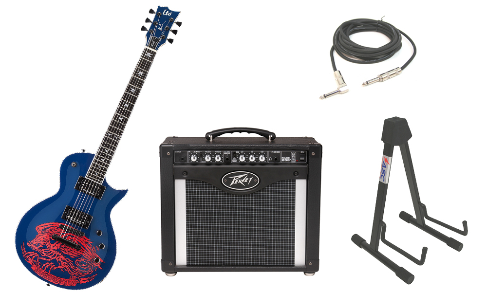 """ESP Signature Will Adler Warbird Mahogany Body 6 String Ebony Fingerboard Navy Blue Electric Guitar with Peavey Rage 258 TransTube Amp, 1/4"""" Cable & Stand"""