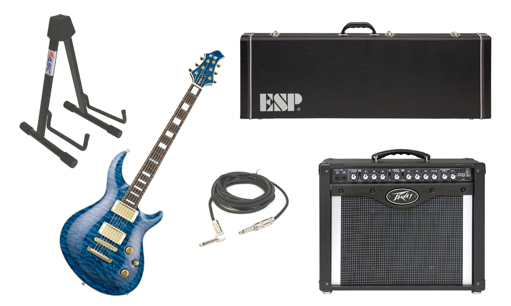 "ESP E-II Mystique Quilted Maple Top 6 String Marine Blue Electric Guitar with Peavey Envoy 110 Tube Amp, 1/4"" Cable & Stand"