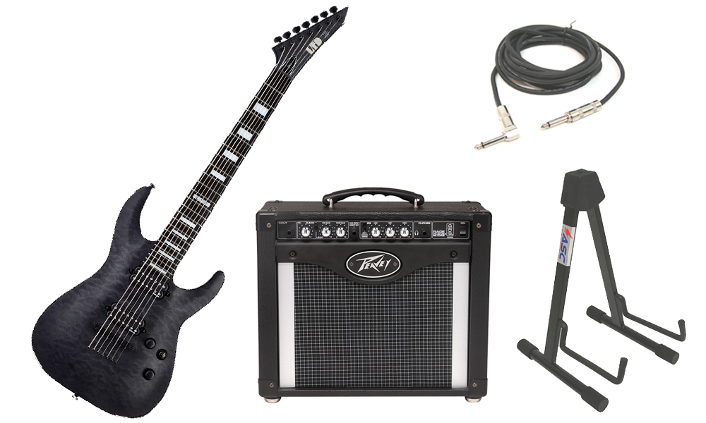 """ESP Signature Zach Householder ZH-7 Quilted Maple Body 7 String Ebony Fingerboard See Through Black Electric Guitar with Peavey Rage 258 TransTube Amp, 1/4"""" Cable & Stand"""