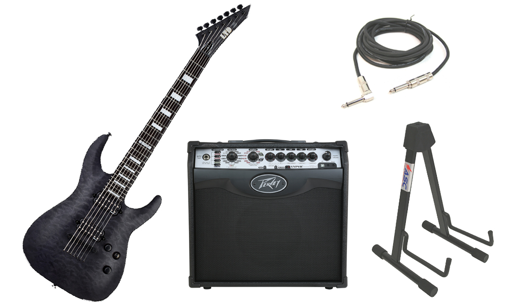 """ESP Signature Zach Householder ZH-7 Quilted Maple Body 7 String Ebony Fingerboard See Through Black Electric Guitar with Peavey VIP 1 Modeling Amp, 1/4"""" Cable & Stand"""