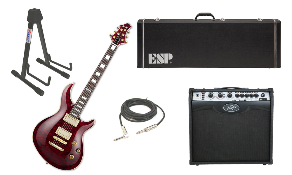 """ESP E-II Mystique Quilted Maple Top 6 String See Through Black Cherry Electric Guitar with Peavey VIP 2 Modeling Amp, 1/4"""" Cable & Stand"""