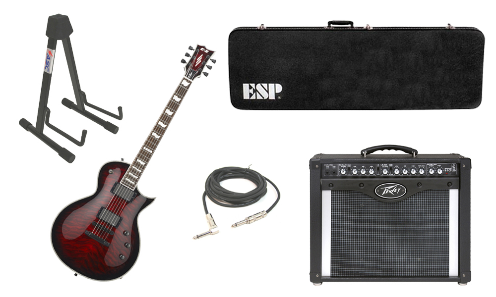 "ESP E-II Eclipse Quilted Maple Top 6 String See Through Black Cherry Sunburst Electric Guitar with Peavey Envoy 110 Tube Amp, 1/4"" Cable & Stand"