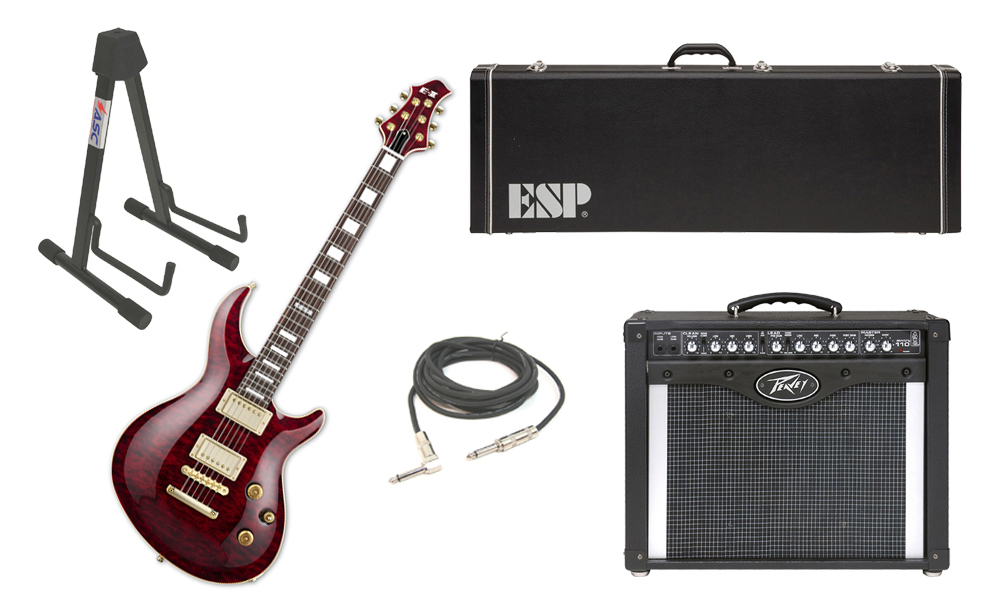 "ESP E-II Mystique Quilted Maple Top 6 String See Through Black Cherry Electric Guitar with Peavey Envoy 110 Tube Amp, 1/4"" Cable & Stand"