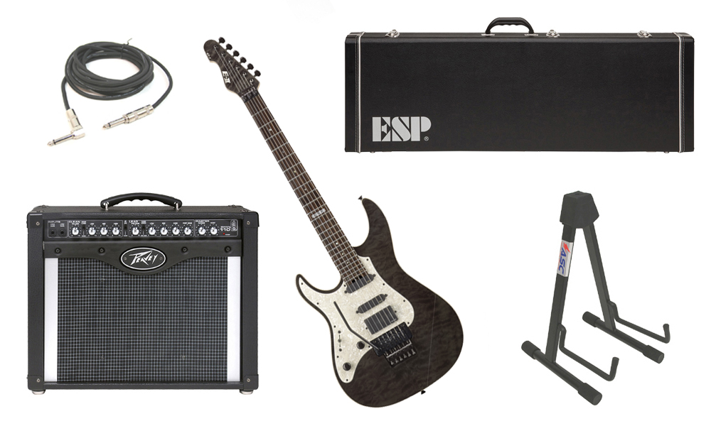 "ESP E-II ST-1 SERIES Quilted Maple Top 6 String Black See Through (Left Hand) Electric Guitar with Peavey Envoy 110 Tube Amp, 1/4"" Cable & Stand"
