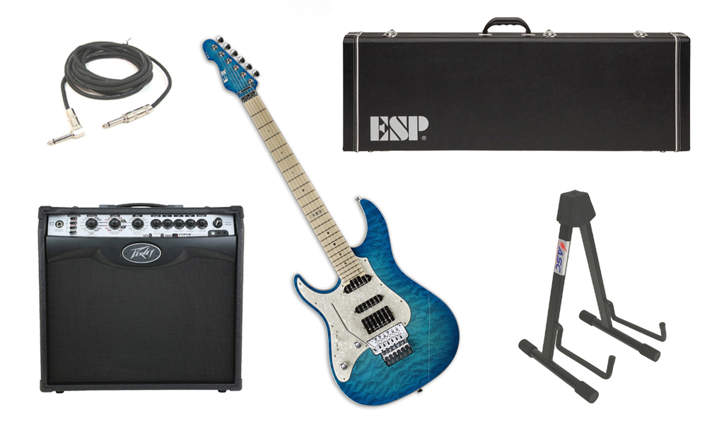"""ESP E-II ST-1 SERIES Quilted Maple Top 6 String Aqua Marine (Left Hand) Electric Guitar with Peavey VIP 2 Modeling Amp, 1/4"""" Cable & Stand"""
