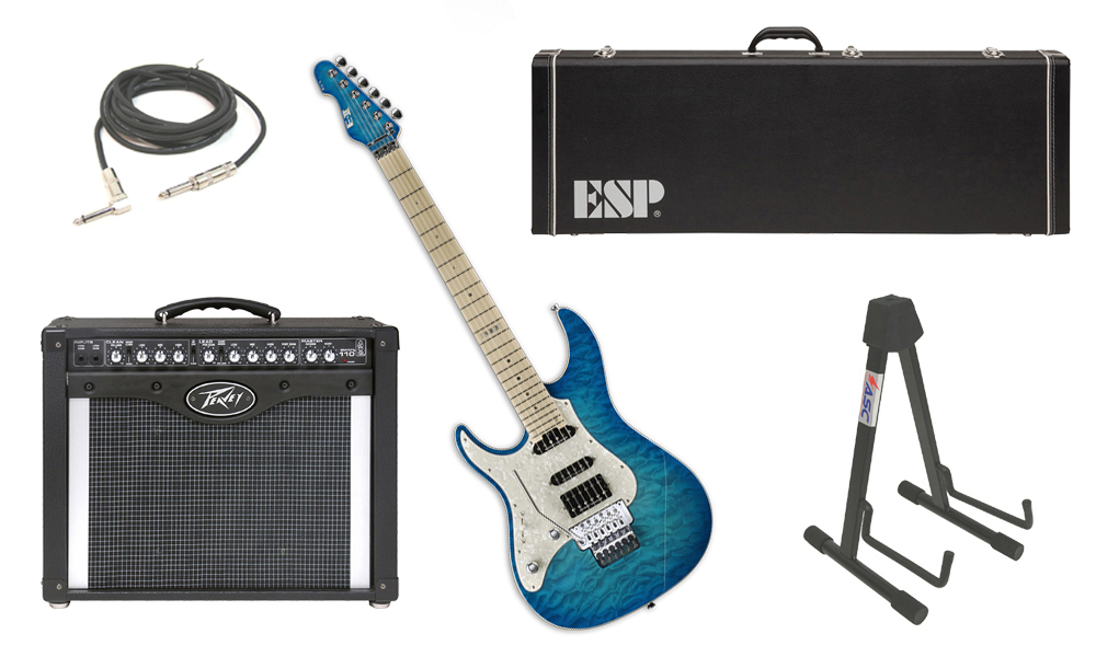 """ESP E-II ST-1 SERIES Quilted Maple Top 6 String Aqua Marine (Left Hand) Electric Guitar with Peavey Envoy 110 Tube Amp, 1/4"""" Cable & Stand"""