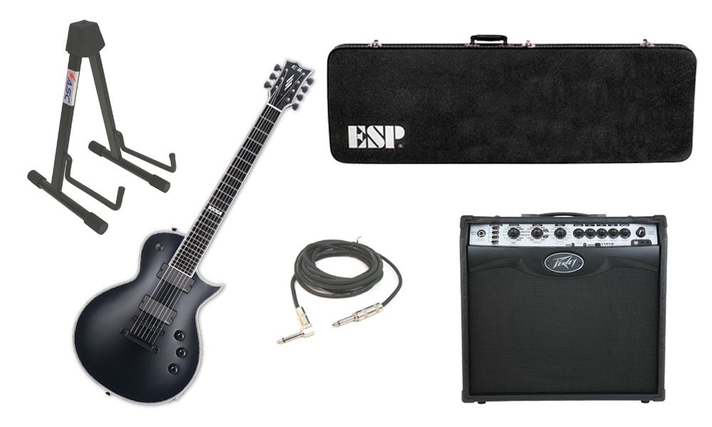 """ESP E-II Eclipse Maple Top 7 String Black Satin Electric Guitar with Peavey VIP 2 Modeling Amp, 1/4"""" Cable & Stand"""