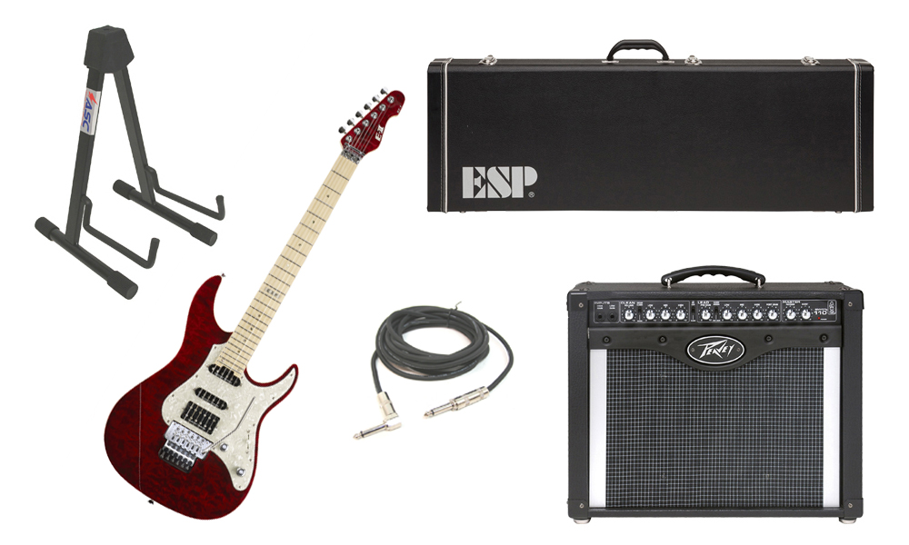 "ESP E-II ST-1 SERIES Quilted Maple Top 6 String See Through Black Cherry Electric Guitar with Peavey Envoy 110 Tube Amp, 1/4"" Cable & Stand"