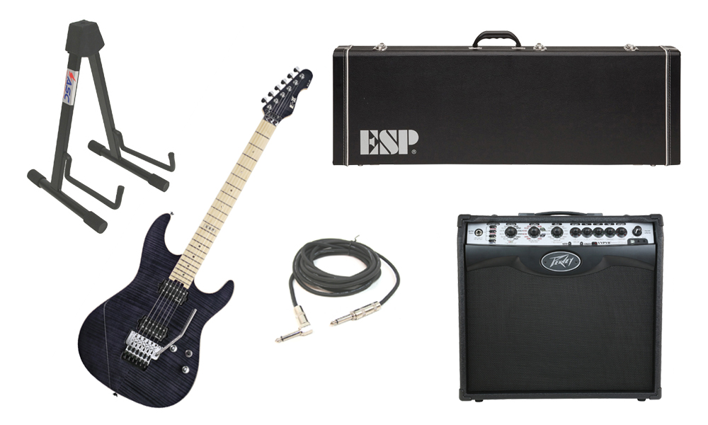 "ESP E-II ST-2 SERIES Flamed Maple Top 6 String See Through Black Electric Guitar with Peavey VIP 2 Modeling Amp, 1/4"" Cable & Stand"