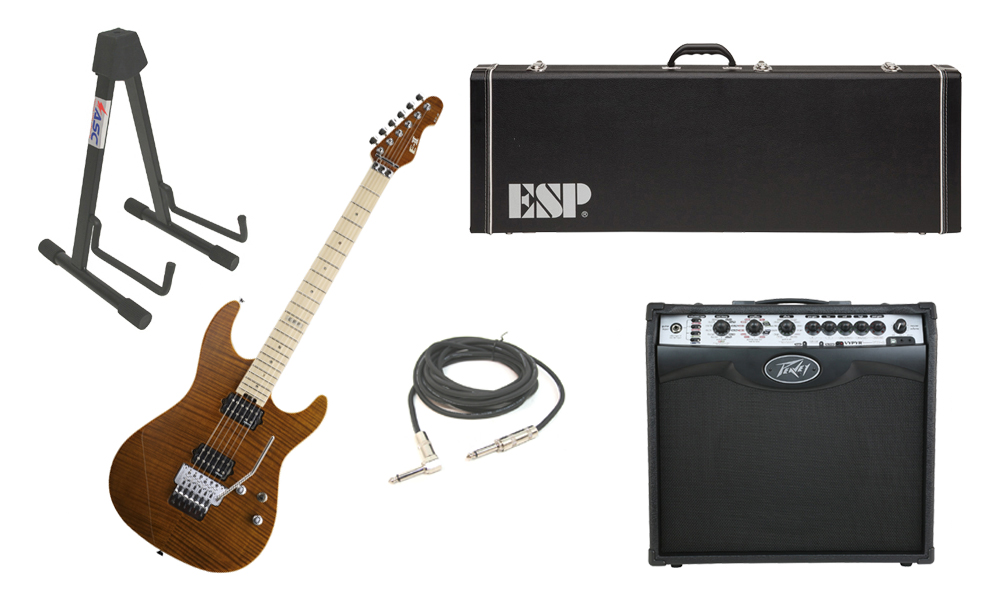 "ESP E-II ST-2 SERIES Flamed Maple Top 6 String Tiger Eye Electric Guitar with Peavey VIP 2 Modeling Amp, 1/4"" Cable & Stand"