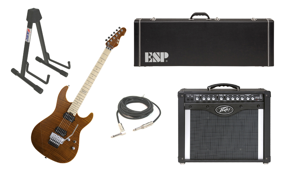 "ESP E-II ST-2 SERIES Flamed Maple Top 6 String Tiger Eye Electric Guitar with Peavey Envoy 110 Tube Amp, 1/4"" Cable & Stand"