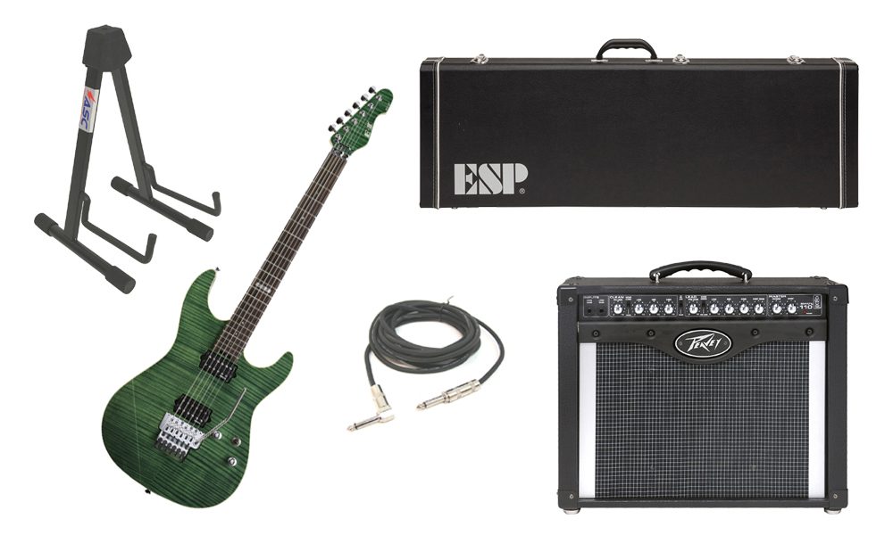 """ESP E-II ST-2 SERIES Flamed Maple Top 6 String Emerald Green Electric Guitar with Peavey Envoy 110 Tube Amp, 1/4"""" Cable & Stand"""