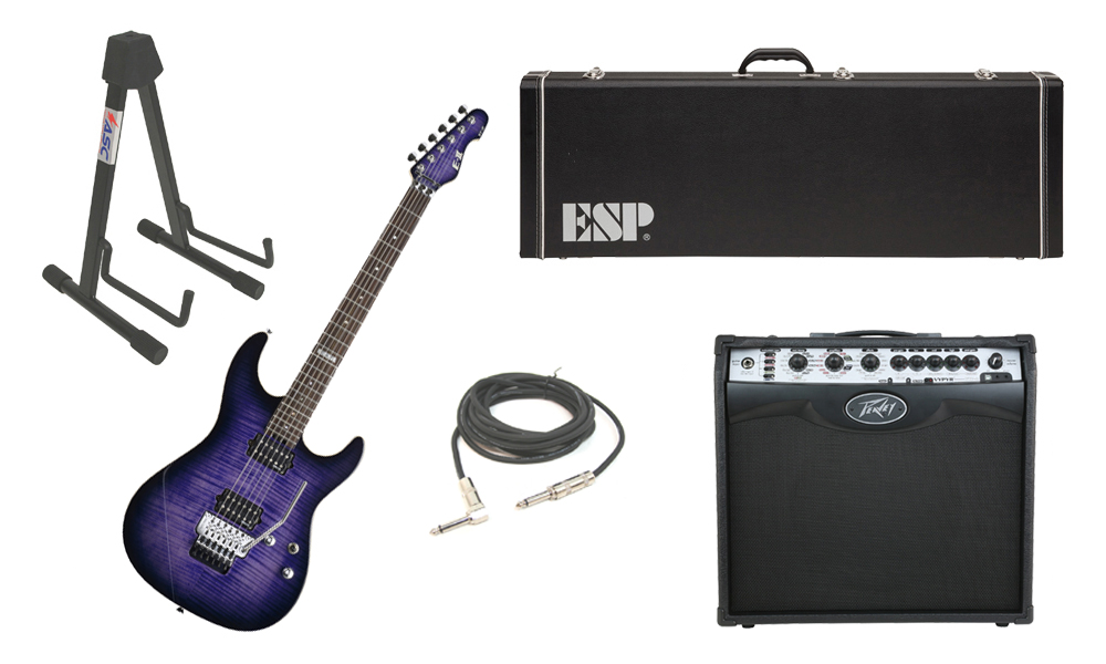 """ESP E-II ST-2 SERIES Flamed Maple Top 6 String Reindeer Blue Electric Guitar with Peavey VIP 2 Modeling Amp, 1/4"""" Cable & Stand"""