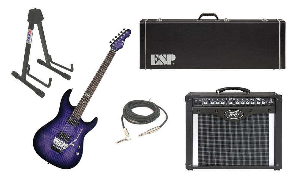 """ESP E-II ST-2 SERIES Flamed Maple Top 6 String Reindeer Blue Electric Guitar with Peavey Envoy 110 Tube Amp, 1/4"""" Cable & Stand"""