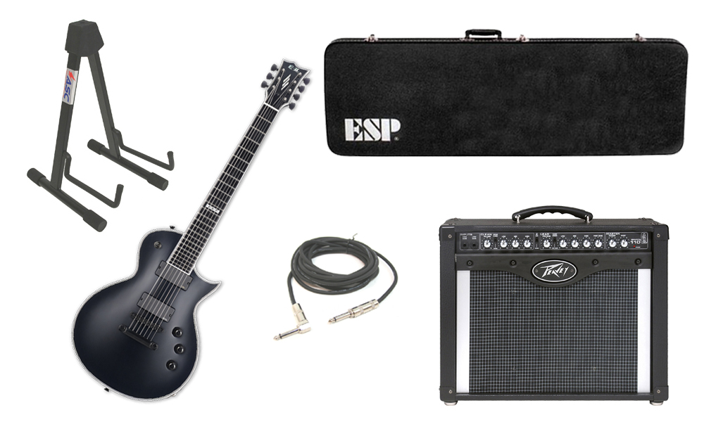 "ESP E-II Eclipse Maple Top 7 String Black Satin Electric Guitar with Peavey Envoy 110 Tube Amp, 1/4"" Cable & Stand"