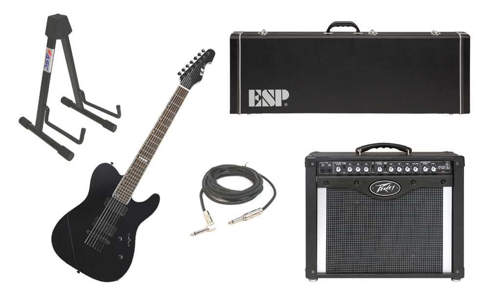 "ESP E-II TE Series TE-7 Maple Top 7 String Black Electric Guitar with Peavey Envoy 110 Tube Amp, 1/4"" Cable & Stand"