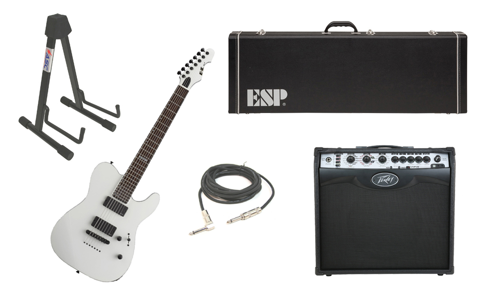 """ESP E-II TE Series TE-7 Maple Top 7 String Snow White Electric Guitar with Peavey VIP 2 Modeling Amp, 1/4"""" Cable & Stand"""