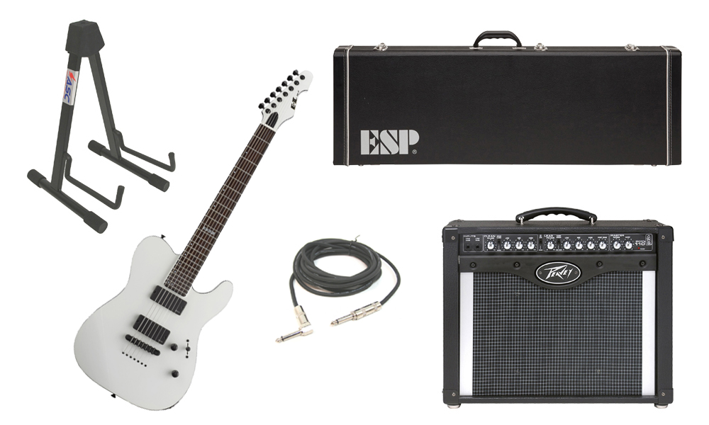 """ESP E-II TE Series TE-7 Maple Top 7 String Snow White Electric Guitar with Peavey Envoy 110 Tube Amp, 1/4"""" Cable & Stand"""