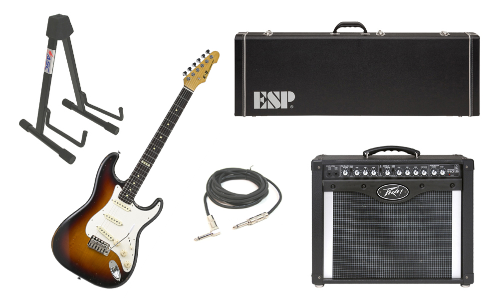 """ESP E-II Vintage Maple Top 6 String 3 Tone Burst Electric Guitar with Peavey Envoy 110 Tube Amp, 1/4"""" Cable & Stand"""