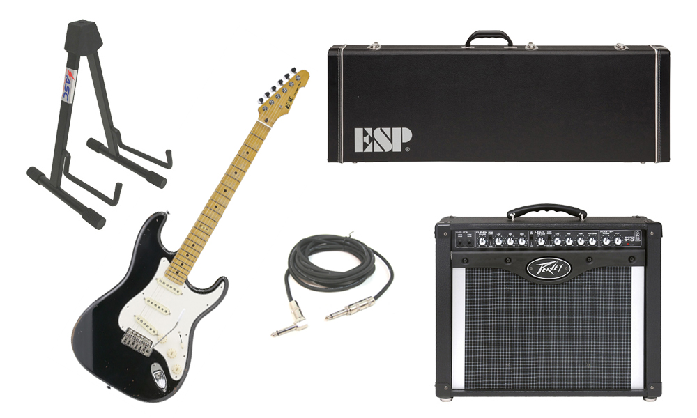 """ESP E-II Vintage Maple Top 6 String Black Electric Guitar with Peavey Envoy 110 Tube Amp, 1/4"""" Cable & Stand"""