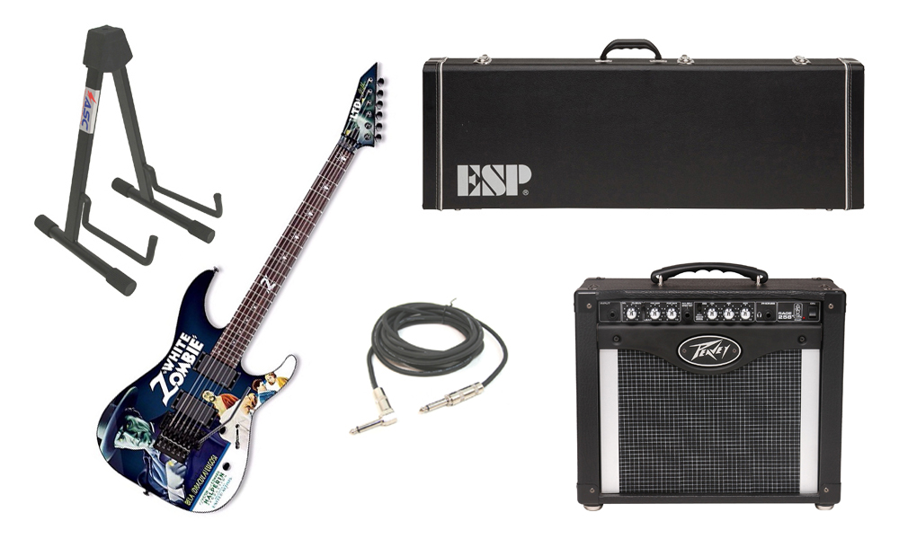 """ESP LTD Graphic Series Kirk Hammettt White Zombie 6 String Electric Guitar with Peavey Rage 258 TransTube Amp, 1/4"""" Cable & Stand"""