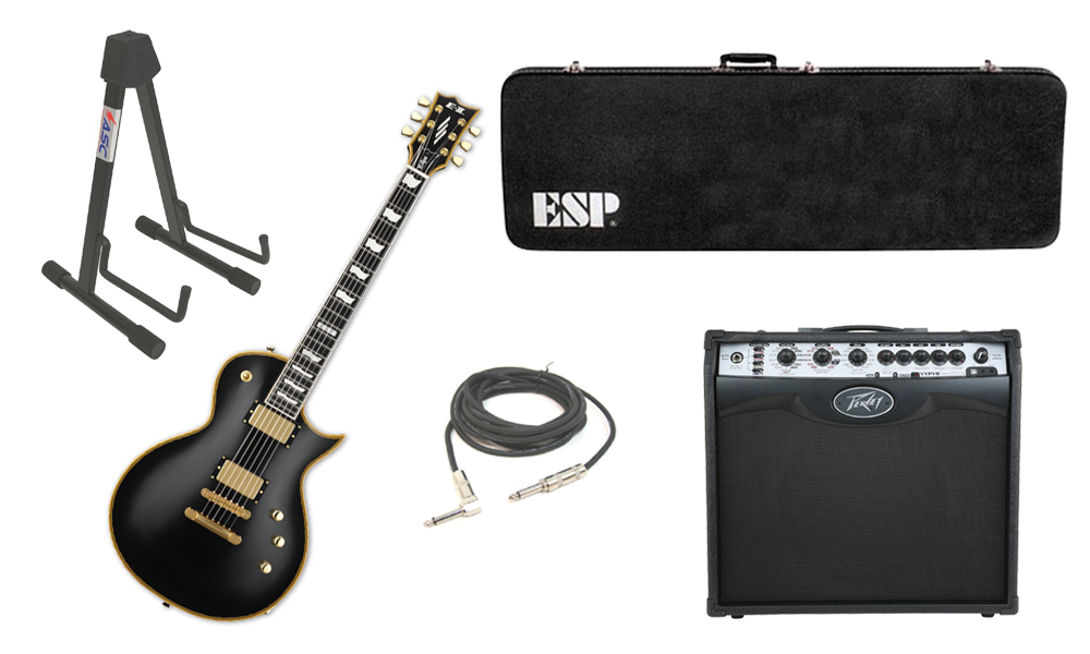 """ESP E-II Eclipse Maple Top 6 String Vintage Black Electric Guitar with Peavey VIP 2 Modeling Amp, 1/4"""" Cable & Stand"""