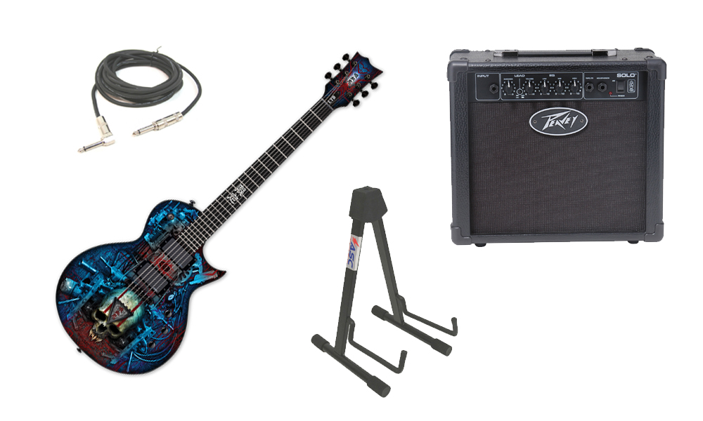 """ESP LTD Graphic Series EC Vampire Bio Tech 6 String Electric Guitar with Peavey Solo Portable Amp, 1/4"""" Cable & Stand"""