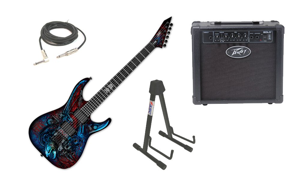 "ESP LTD Graphic Series M Vampire Bio Tech 6 String Electric Guitar with Peavey Solo Portable Amp, 1/4"" Cable & Stand"