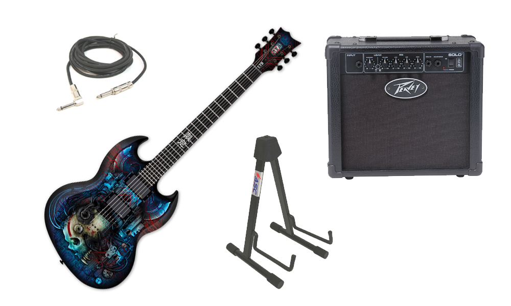 """ESP LTD Graphic Series Viper Vampire Bio Tech 6 String Electric Guitar with Peavey Solo Portable Amp, 1/4"""" Cable & Stand"""