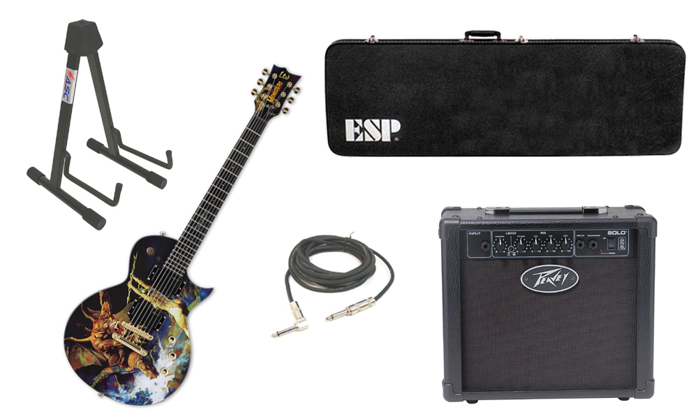 """ESP LTD Graphic Series EC Frank Frazetta 6 String Electric Guitar with Peavey Solo Portable Amp, 1/4"""" Cable & Stand"""