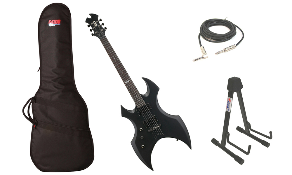 """ESP LTD AX-50 Series 6 String Basswood Body Black Satin Electric Guitar (Left Hand) with Travel Gig Bag, Stand & 1/4"""" Cable"""