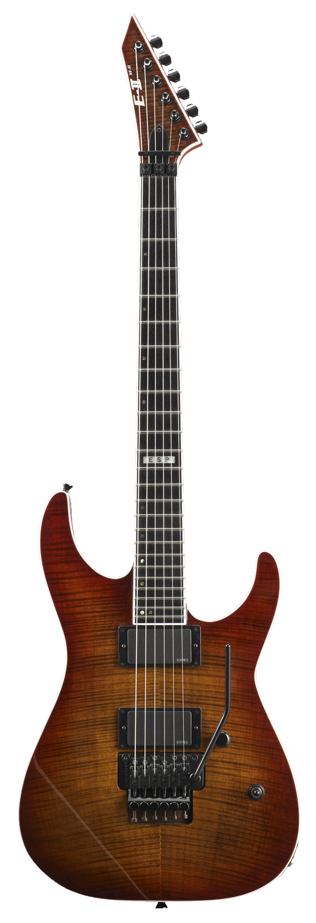 ESP M-II FM ACSB E-II M Series Flamed Maple Top Electric Guitar with Amber Cherry Sunburst Finish