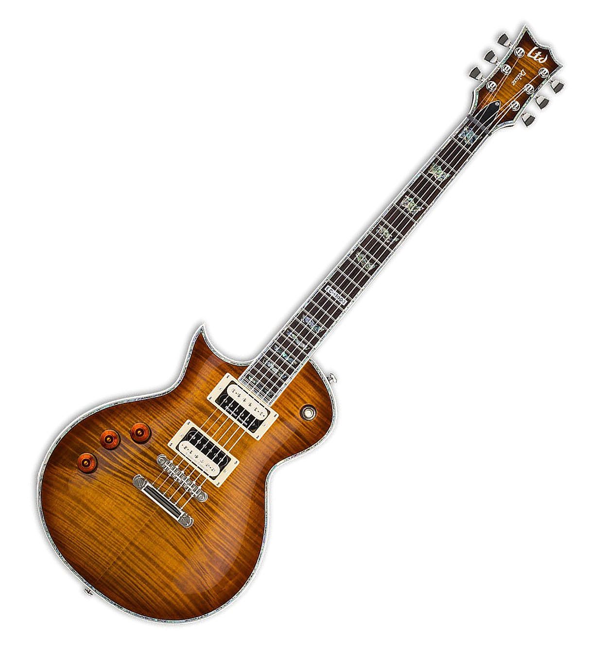 ESP LTD EC-1000FM ASB LH EC Series Electric Guitar with Flamed Maple Top and Amber Sunburst Finish