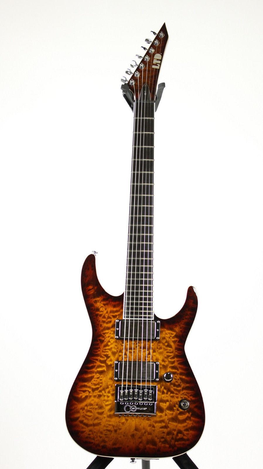 ESP LKS7QMETDBSB LTD Ken Susi Signature Quilted Maple Top Electric Guitar with Dark Brown Sunburst Finish