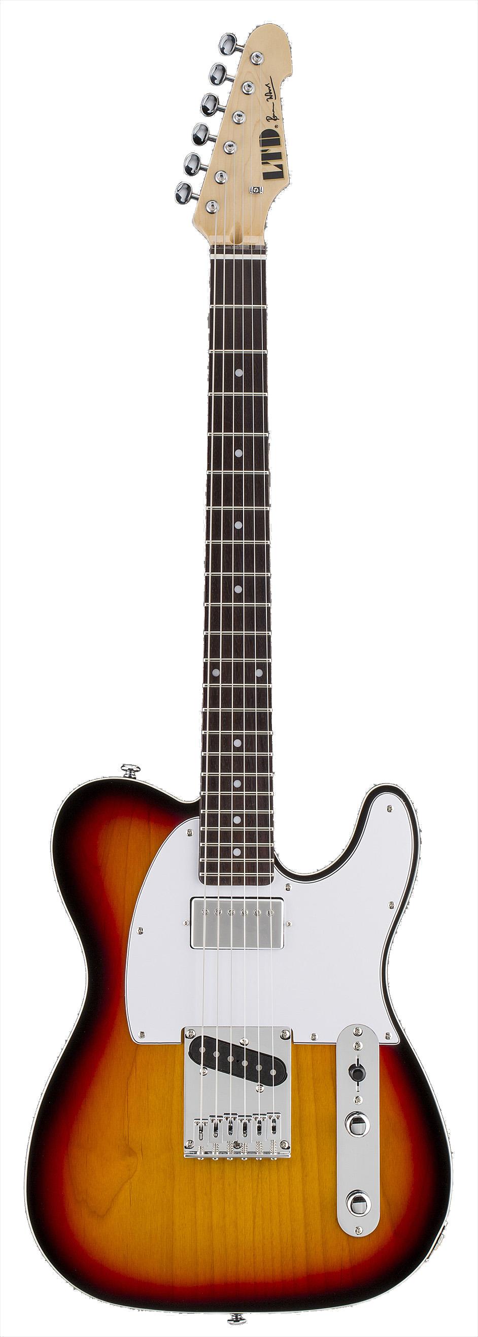 ESP LRON3TB LTD Ron Wood Signature Electric Guitar with Flat-Mount Bridge and 3-Tone Burst Finish