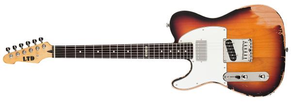 ESP LTD TE-202 3TB LH TE Series Electric Guitar with Left Handed Design 3 Tone Burst Finish