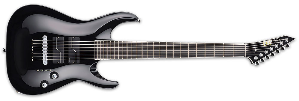 "ESP ESTEFB7BLKF 7-String Stephen Carpenter Signature 27"" Baritone Electric Guitar - Black Finish (ESTEFB7BLKF)"