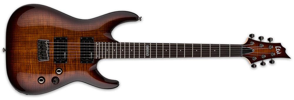 ESP LTD H-101 FM DBSB 6-String Flamed Maple Top Electric Guitar - Dark Brown Sunburst Finish (LH101FMDBSB)