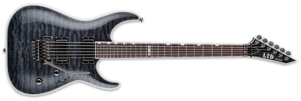 ESP LTD MH-1001 FR STBLK METALWORKS 6-String Quilted Maple Electric Guitar - See Thru Black Finish (LMH1001STBLK)