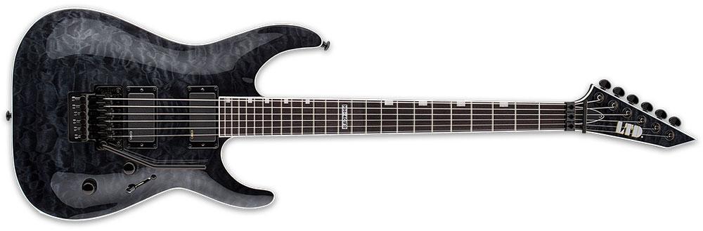 ESP LTD MH-401 FR QM STBLK 6-String MH-Series Floyd Rose Bridge Electric Guitar - See Thru Black Finish (LMH401FRQMSTBLK)