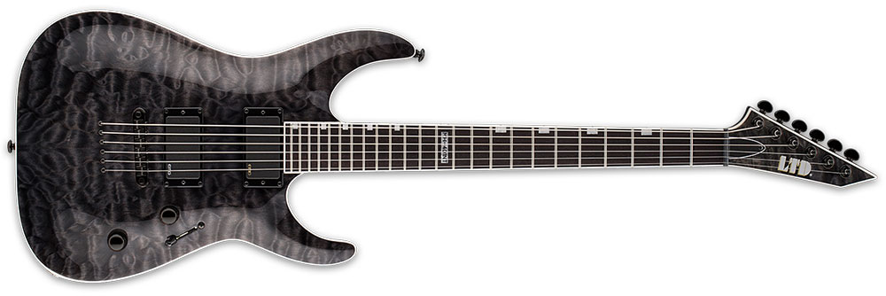 ESP LTD MH-401 NT QM STBLK 6-String Neck-Thru Quilted Maple Top Electric Guitar - See Thru Black Finish (LMH401NTQMSTBLK)