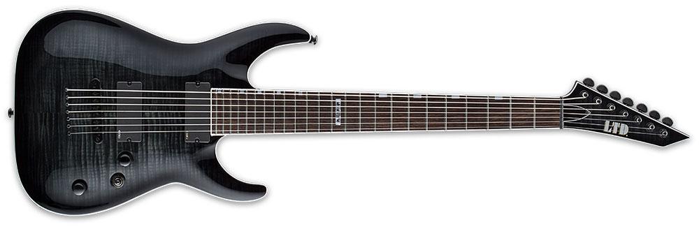ESP LTD MH-417B FM STBLKSB 7-String MH-Series Baritone Electric Guitar - See Thru Black Sunburst Finish (LMH417BFMSTBLKSB)